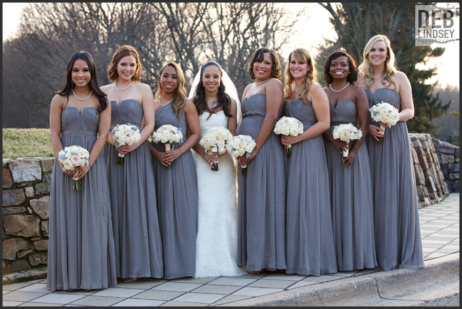 Bride and Bridesmaids in Grey Gowns. Howerton+Wooten Events.