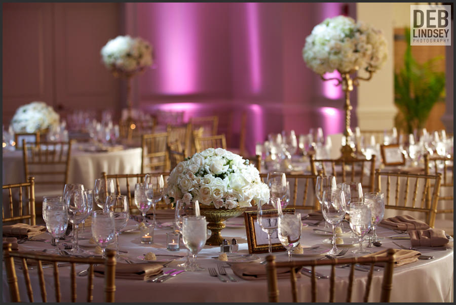 Pink and Gold Wedding Reception at Bethesda Country Club. Howerton+Wooten Events.