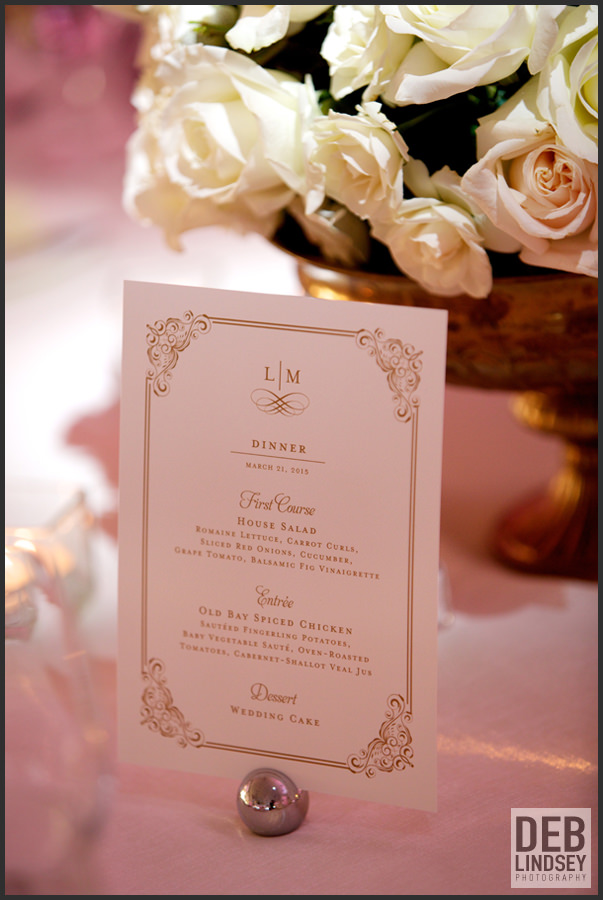 Cream and Gold Menu Cards. Howerton+Wooten Events.