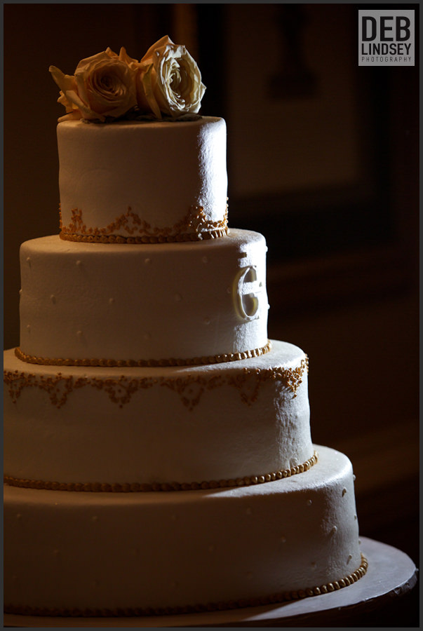 White and Gold Wedding Cake. Howerton+Wooten Events.