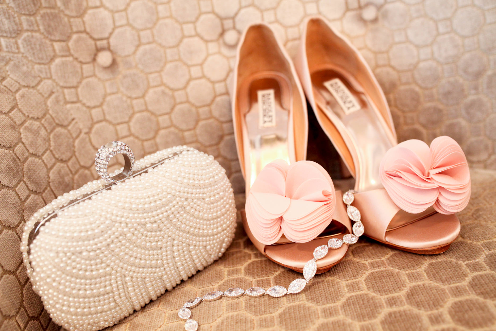 Pink Wedding Shoes and Pearl Clutch. Natarsha Wright Photography. Howerton+Wooten Events.