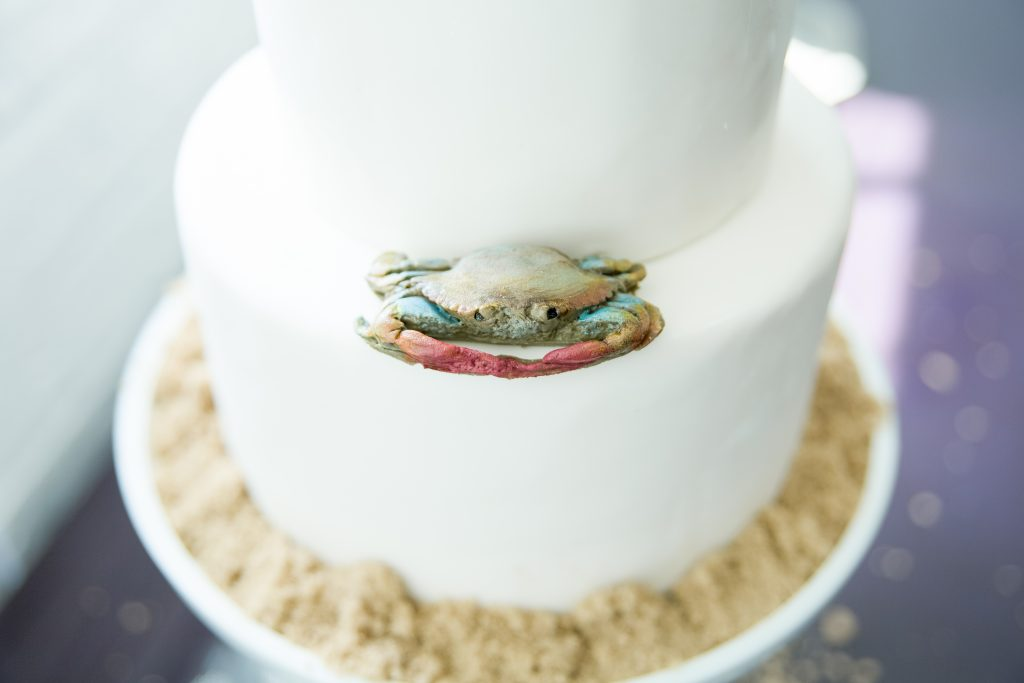 Two-Tier White Cake with a Maryland Blue Crab