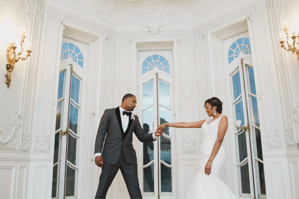 African American Bride and Groom at Cylburn Arboretum. Howerton+Wooten Events.