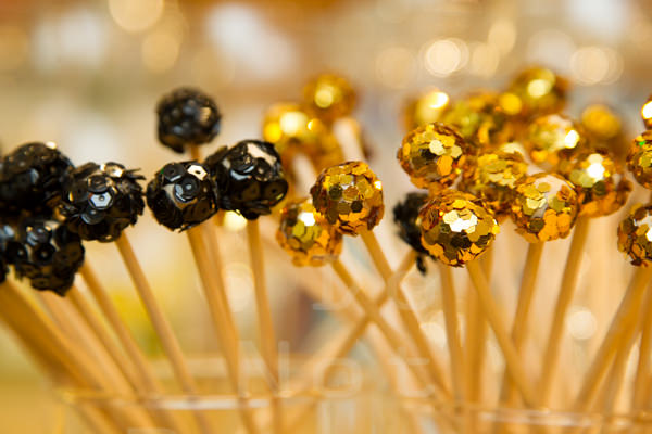 Black and Gold Sequin Swizzle Sticks. Howerton+Wooten Events.