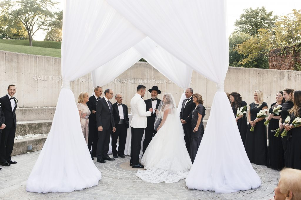 Wedding under White Draped Chuppah. Howerton+Wooten Events.