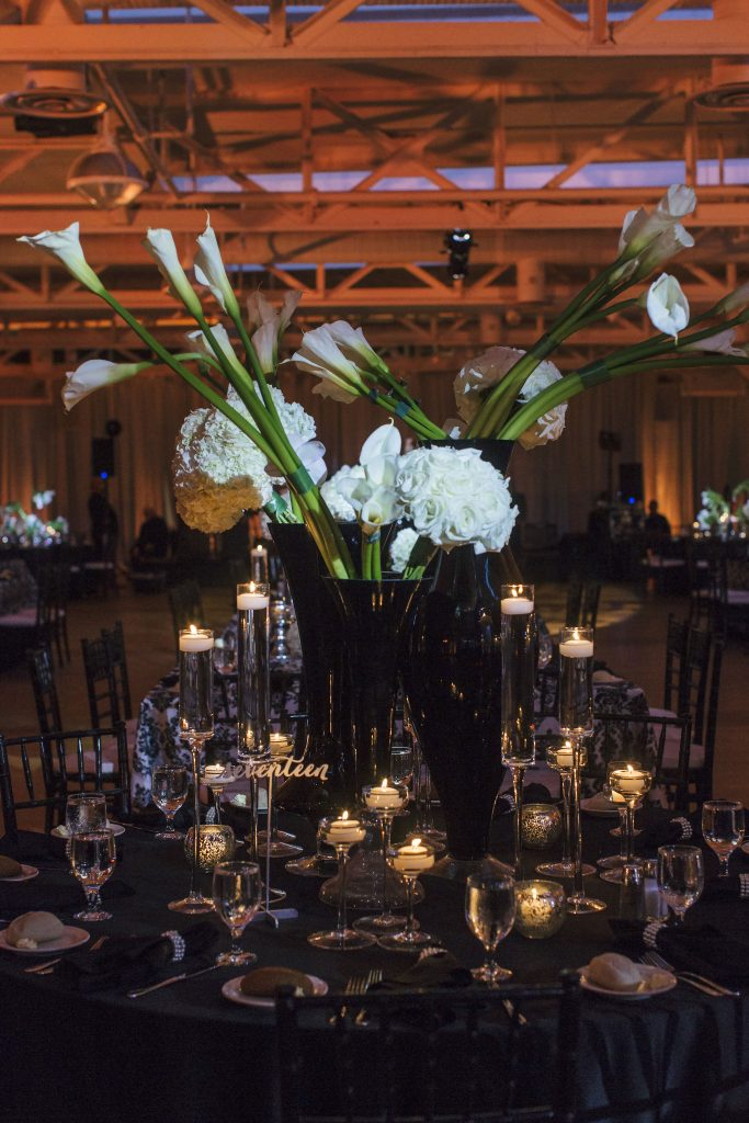 Black and White Calla Lilies, Roses and Hydrangea Centerpiece. Howerton+Wooten Events.