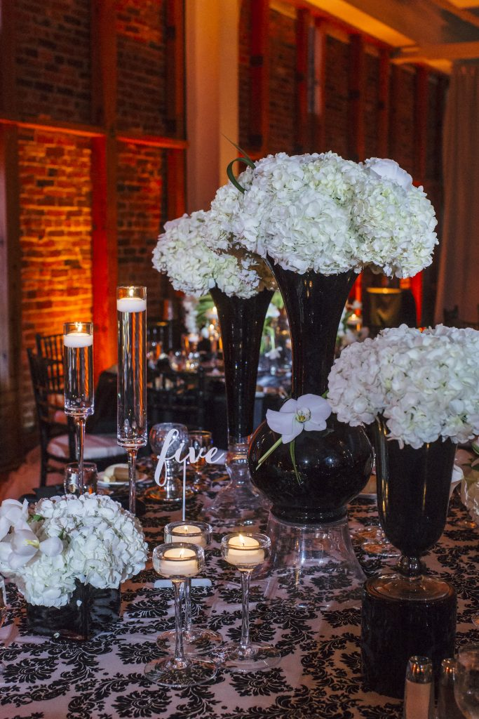 White Hydrangeas and Black Vases. Howerton+Wooten Events.