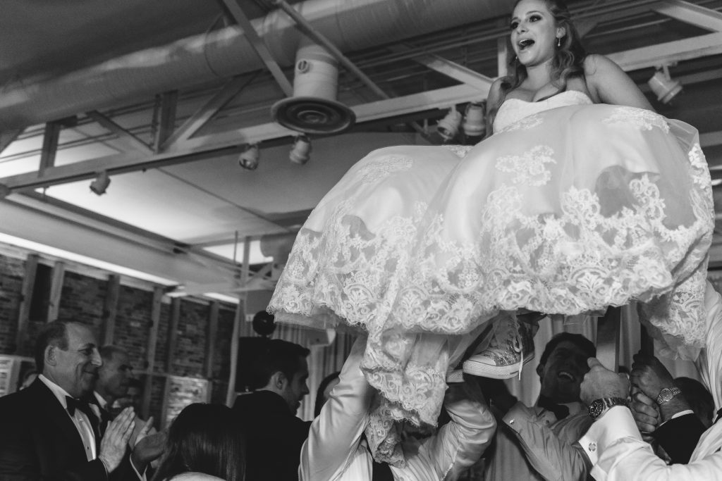 Bride and Hora Dance. Black and White Photo. Howerton+Wooten Events.