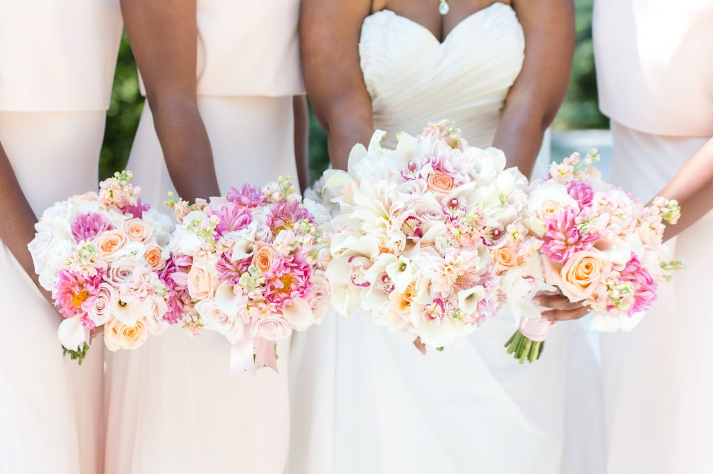 Bride and Bridesmaids in Blush and Ivory. Howerton+Wooten Events.