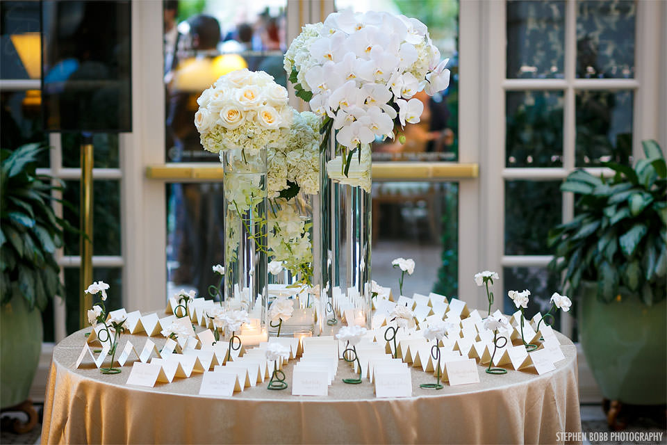 White Orchid Floral Arrangement. Escort Cards. Howerton+Wooten Events.