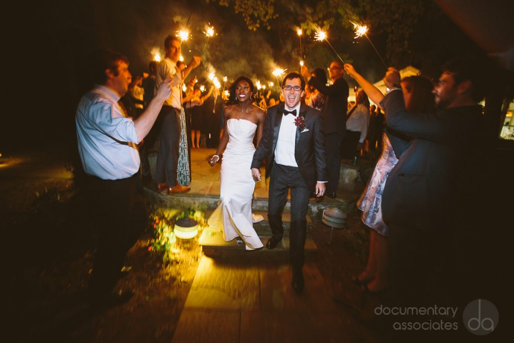 Bride and Groom Sparkler Exit at Airlie Center. Howerton+Wooten Events.