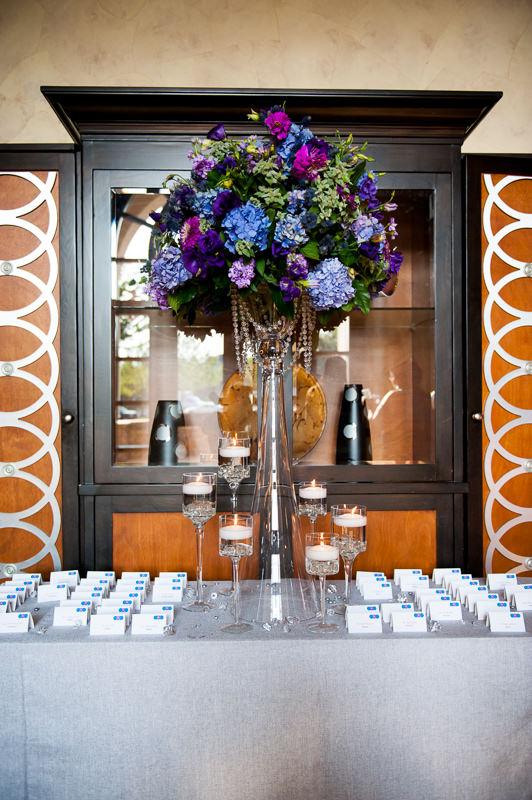 Purple and Blue Floral Arrangement. Howerton+Wooten Events.