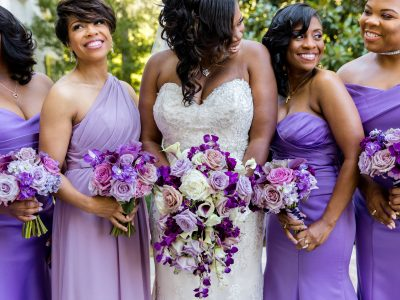 Bride and Bridesmaids in Purple at Rust Manor House. Howerton+Wooten Events.