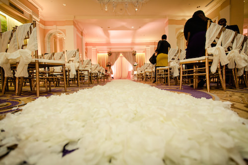 Wedding Aisle Covered in Petals. Howerton+Wooten Events.
