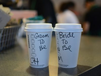 Bride to Be and Groom to Be Starbucks. Howerton+Wooten Events.