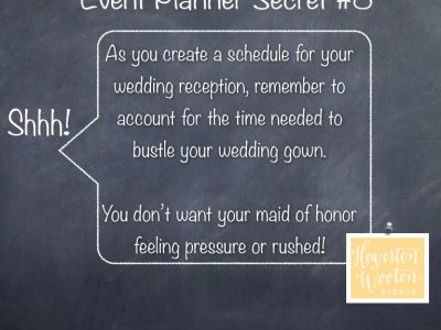 Event Planner Secret, Allow Some Time for the Bustle