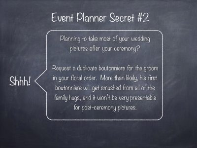Event Planner Secret, The Groom's Boutonniere