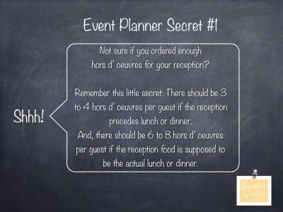 Event Planner Secret, How Many Hors D' Oeuvre Servings Should I Order