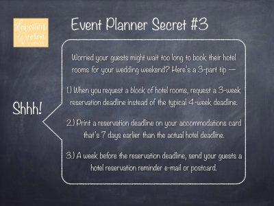Event Planner Secret, Hotel Rooms for Wedding Guests