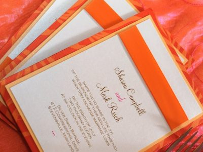 Orange Wedding Invitation. Howerton+Wooten Events.