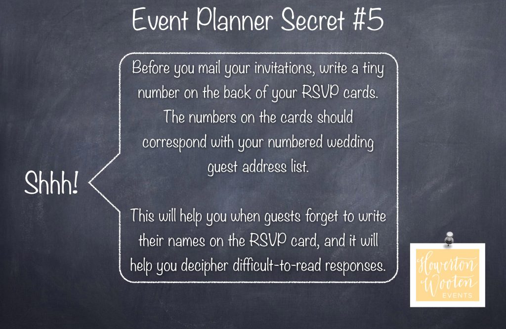 Event Planner Secret Number Your Rsvp Cards
