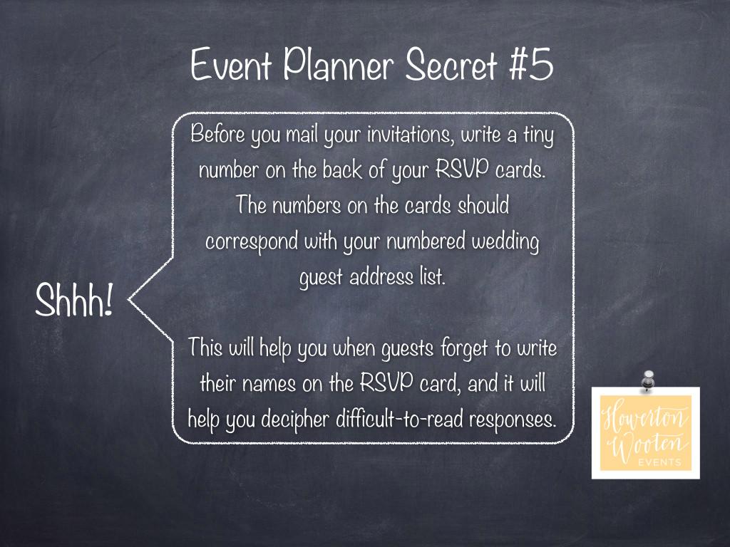 event planner secret  number your rsvp cards