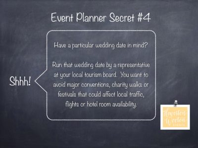 Event Planner Secret, Selecting Your Wedding Date