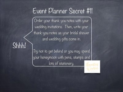 Event Planner Secret, Stay Ahead of Your Thank You Notes