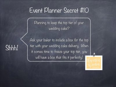 Event Planner Secret, Prepare in Advance for Your Top Tier