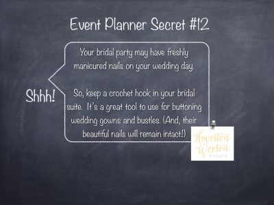 Event Planner Secret, Keep a Crochet Hook in the Bridal Suite
