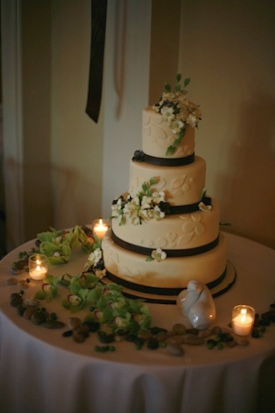 Wedding Cake With Orchids And River Rocks