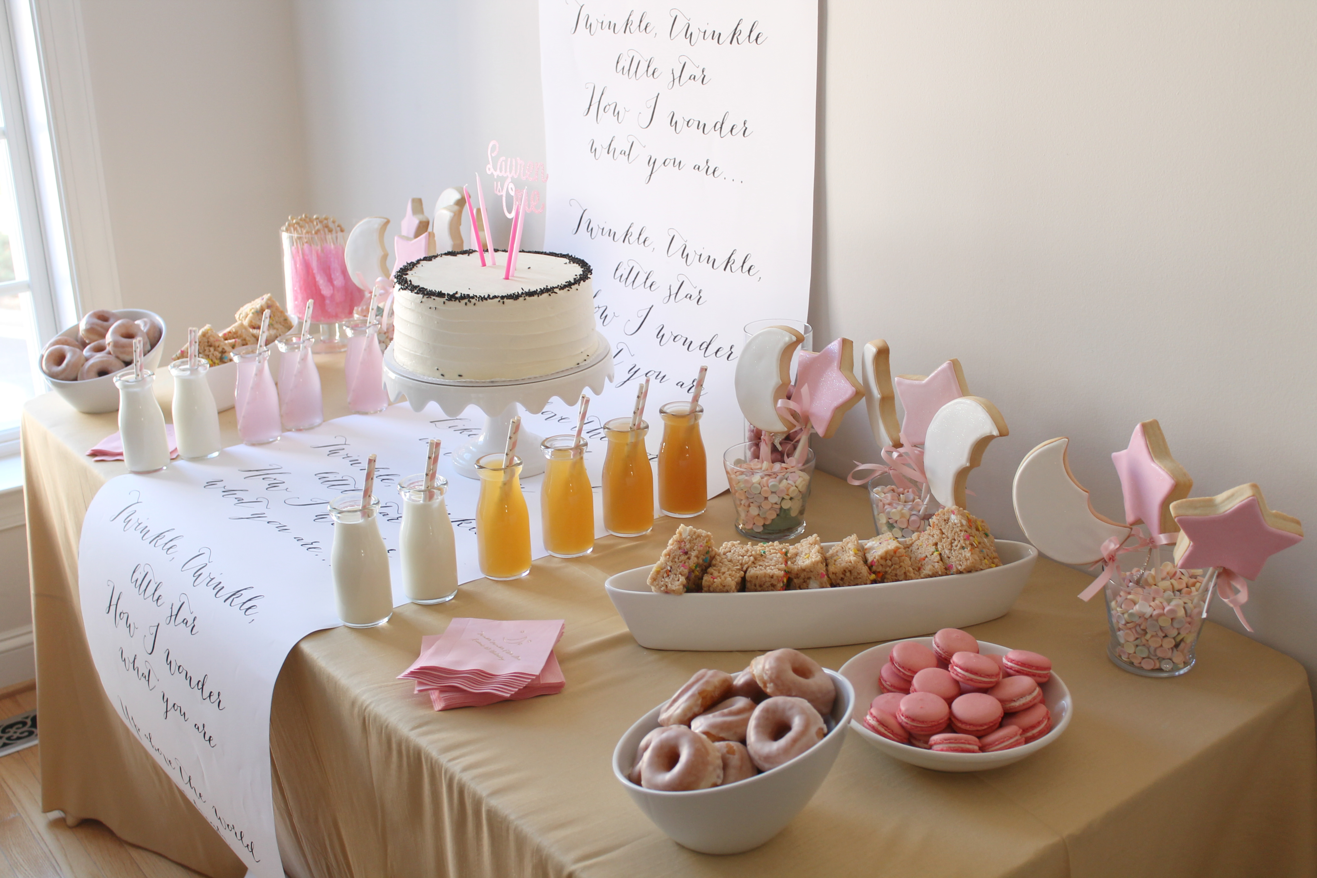 Birthday Cake Table Decoration At Home : A Sweet First Birthday Party Dessert Table Howerton ...