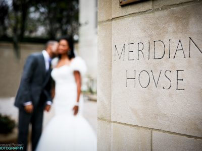 Bride and Groom at the Meridian House. Leonard Poteat Photography. Howerton+Wooten Events.