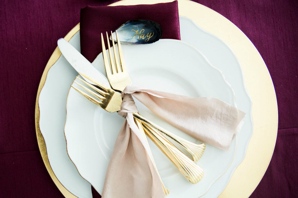 Ruby, Gold and White Place Setting