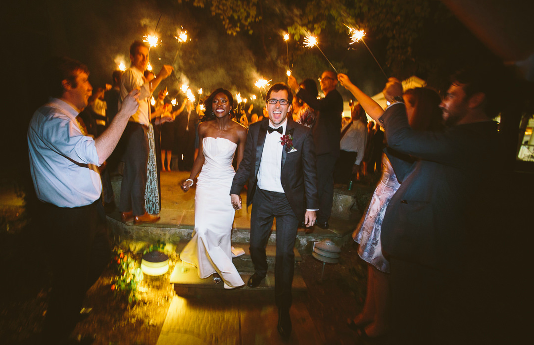 Bride and Groom Sparkler Exit at Airlie. Howerton+Wooten Events.