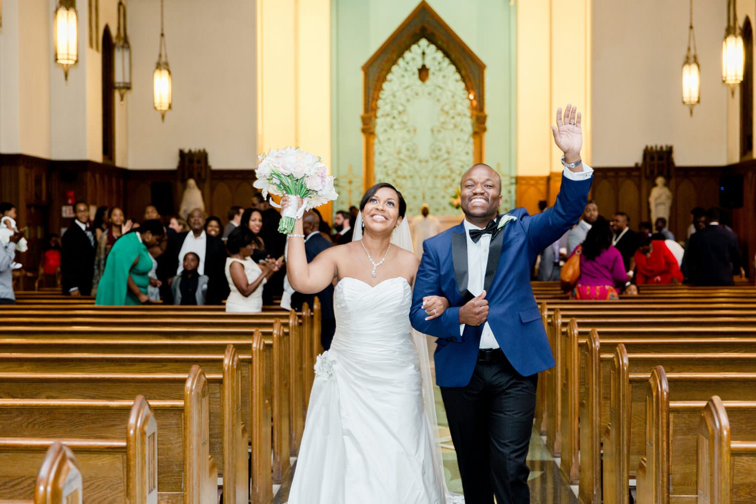 Bride and Groom at Ceremony Recessional at Dunbarton Chapel. Howerton+Wooten Events.