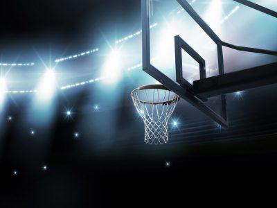 Basketball Hoop in Arena. Howerton+Wooten Events.