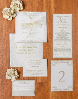 Ivory and Gold Wedding Invitation. Howerton+Wooten Events.