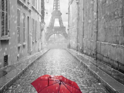 Red Umbrella and the Eiffel Tower. Howerton+Wooten Events.