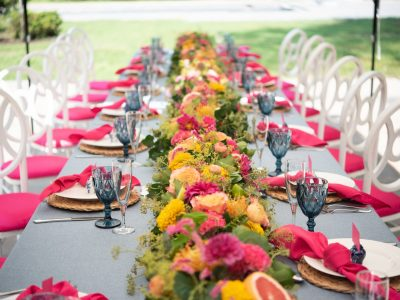Colorful Garland of Flowers and Citrus. Howerton+Wooten Events.