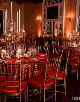 Red Candlelight Wedding. Washington DC. Howerton+Wooten Events.