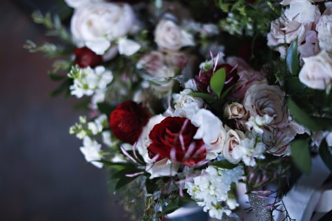Gorgeous Bouquets on the Floor. Howerton+Wooten Events.