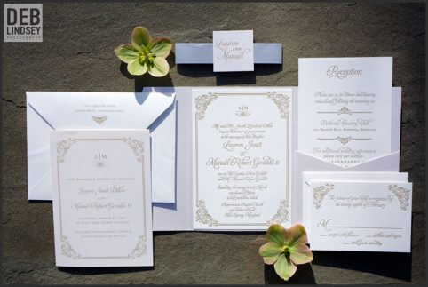 White and Gold Letterpress Invitation. Howerton+Wooten Events.