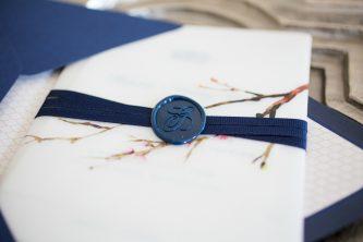 White and Blue Wedding Invitation. Howerton+Wooten Events.