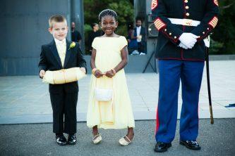 Caucasian Ring Bearer and African American Flower Girl. Howerton+Wooten Events.