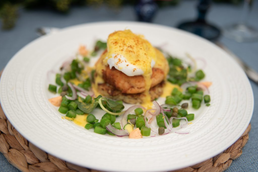 Salmon Cake Eggs Benedict by DMH and Company. Howerton+Wooten Events