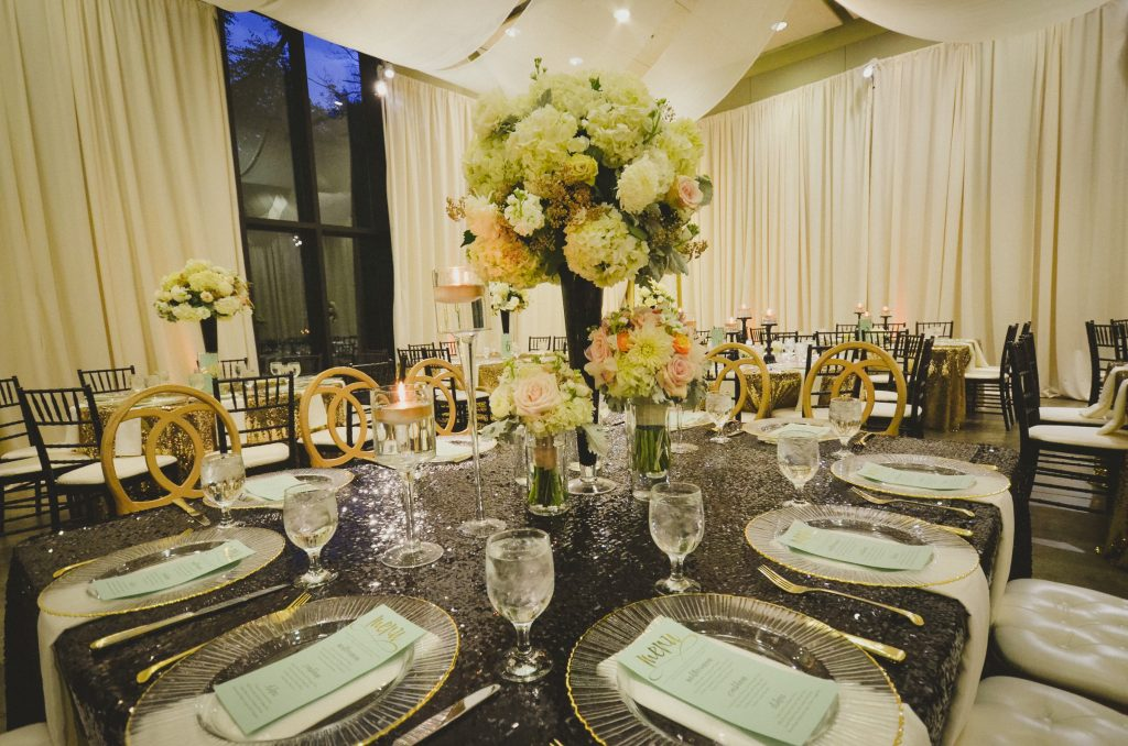 Black and Gold Sequin Linen. Howerton+Wooten Events.
