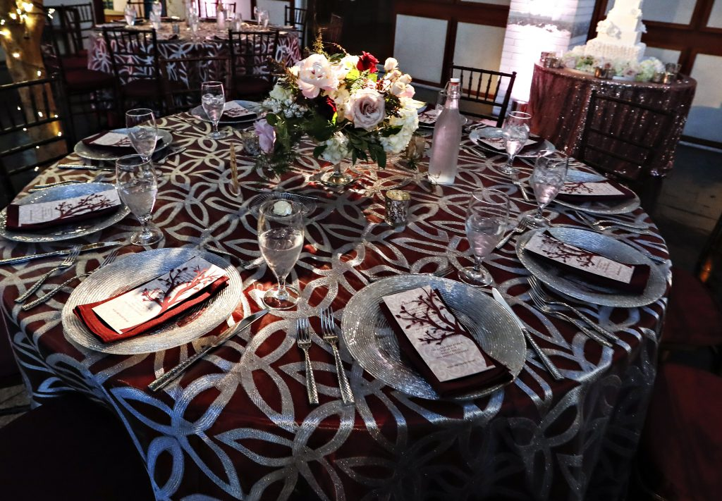 Silver Overlay with Burgundy Linen. Howerton+Wooten Events.