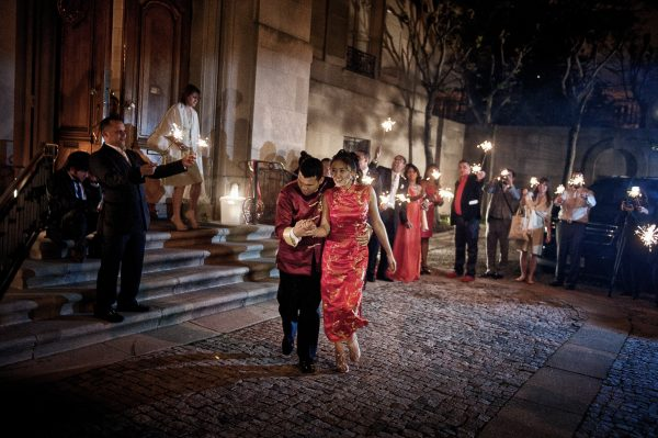 Sparkler Exit. Chinese Red Wedding Attire. Howerton+Wooten Events.