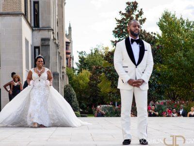 African American Bride and Groom before Wedding. St. Regis Washington DC.